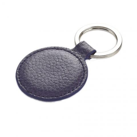Leather Round Keyring Aubergine
