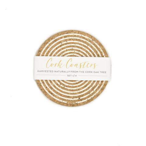Cream orbit cork coaster set