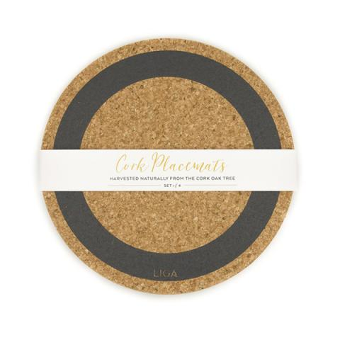 Grey earth cork placemat set
