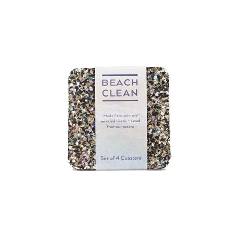 Eco beach clean cork coaster set