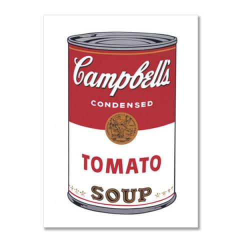 Campbell's tomato soup can by Andy Warhol postcard