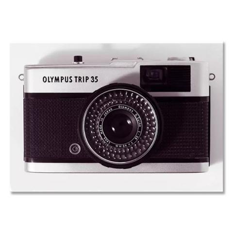 Olympus Trip 35 vintage camera by Antony Nobilo single greeting card