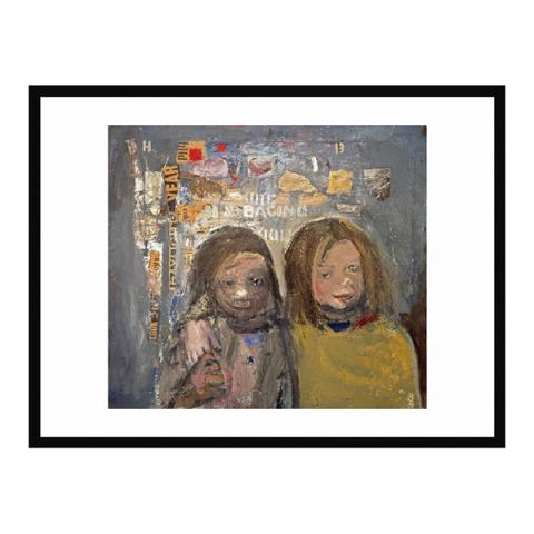 Children and chalked wall by Joan Eardley (50 x 70 cm) framed print