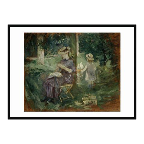 A Woman and Child by Berthe Morisot (70 x 80 cm) framed print