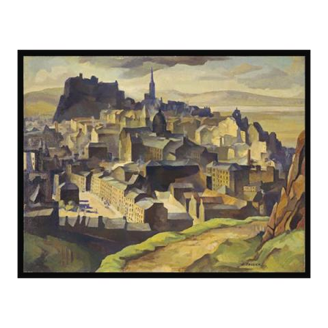 Edinburgh from Salisbury Crags by William Crozier (80 x 100 cm) framed canvas
