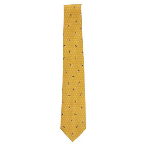 Bee pattern yellow silk tie