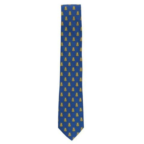 Imperial bee pattern blue silk tie