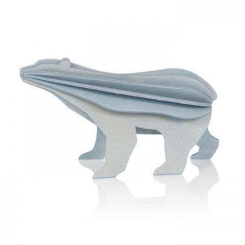 Light blue polar bear wooden flat pack Christmas decoration kit (7cm)