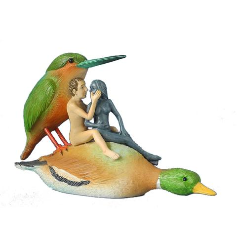 Couple on a duck by Hieronymus Bosch hand painted resin replica figure