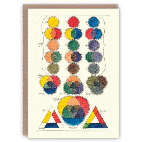 Three primitive colours pattern book greeting card