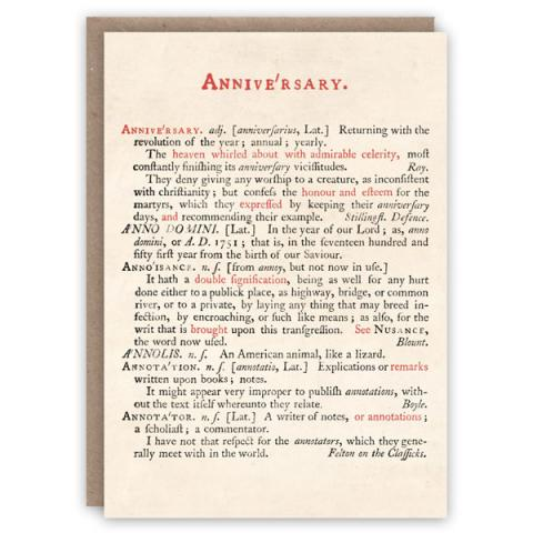 Johnson's dictionary anniversary pattern book greeting card
