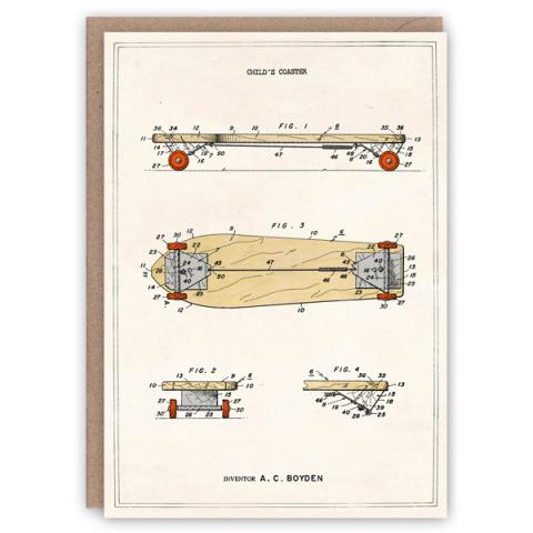 Skateboard pattern book greeting card