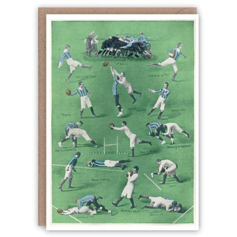 Rugby pattern book greeting card
