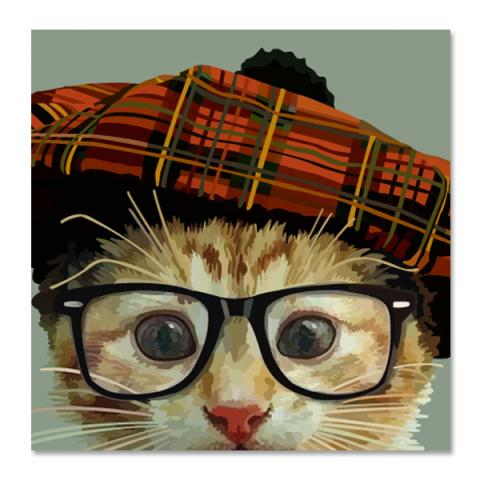 Cat, hat and glasses greeting card