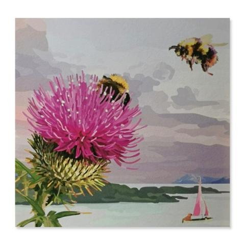 Thistle with bees greeting card