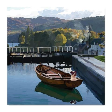 Canal lock greeting card