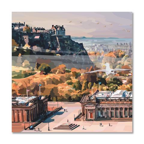 Morning mist in Edinburgh greeting card