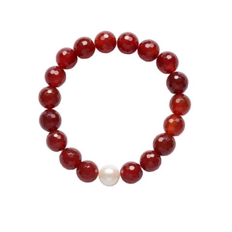 The Real Pearl Red Agate/Pearl Bracelet