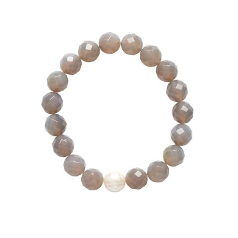 Grey agate and pearl bracelet