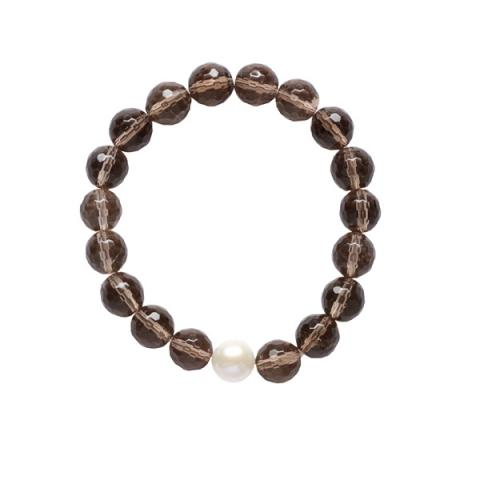 White pearl and smoky quartz bracelet