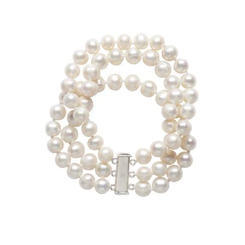 White pearl three strand bracelet