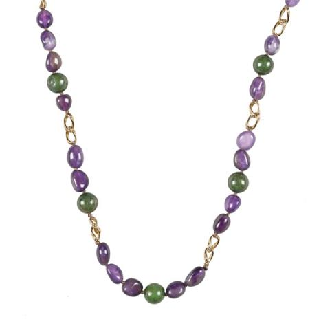 The Real Pearl Amethyst and Jade Necklace