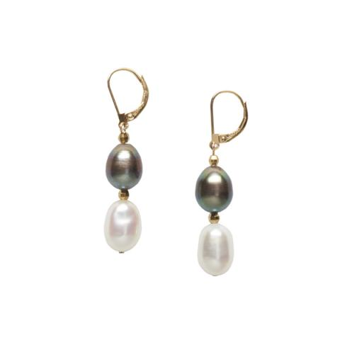 The Real Pearl Black/White Drop Pearl Earrings