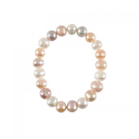 Multi-coloured pearl bracelet