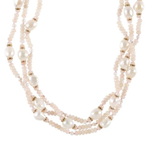 The Real Pearl 3 Strand Pearl Pink Jade Necklace