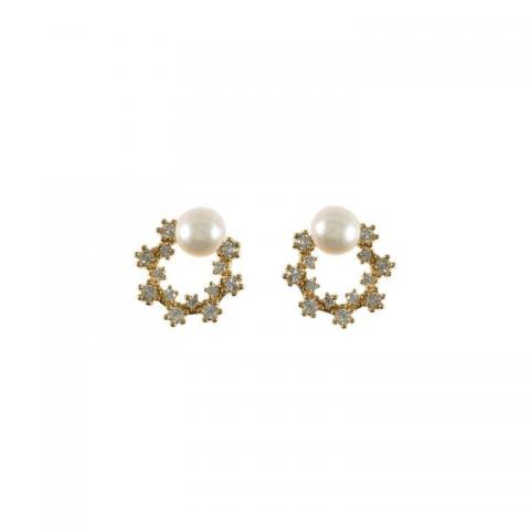 White pearl and cubic zirconium stud earrings