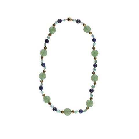 Jade flower, lapis lazuli, apatite and brass bead necklace