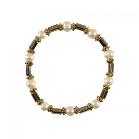 Gold hematite with brass and white pearl bracelet