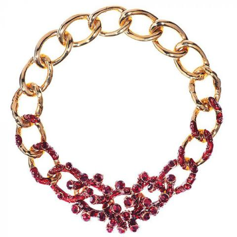 Swarovski Crystal and enamel coral chain necklace