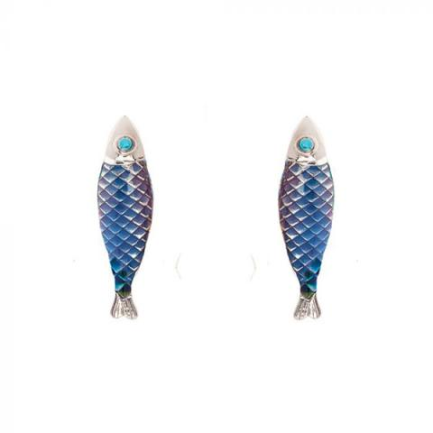 Hand enamelled blue Electra fish shaped earrings
