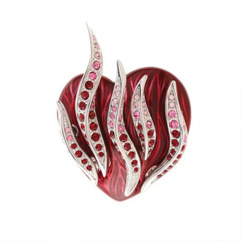 Swarovski crystal and enamel red flaming heart brooch