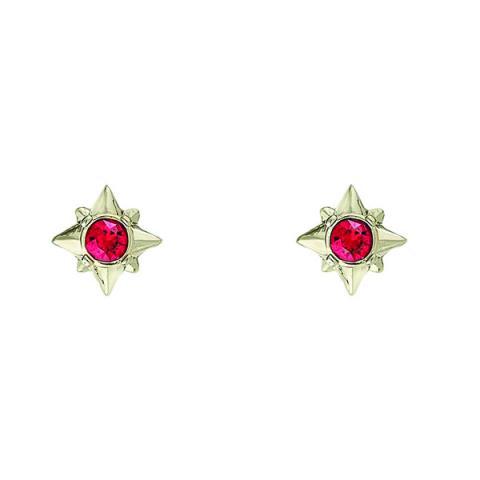 Stellar star bright red crystal stud earrings