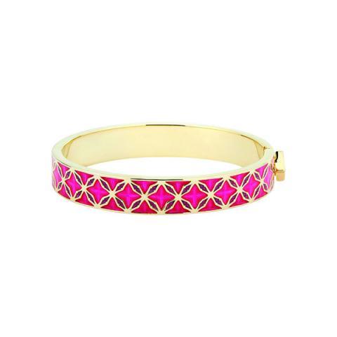 Hand enamelled pink cuff bangle