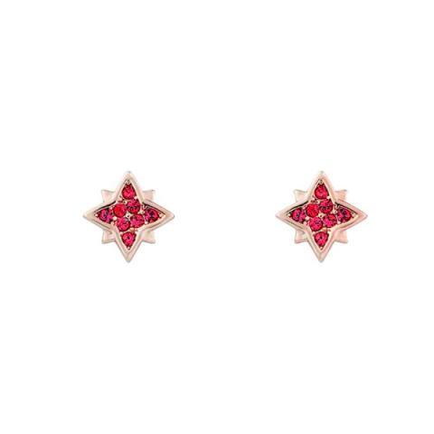 Swarovski pink crystal rose gold star earrings