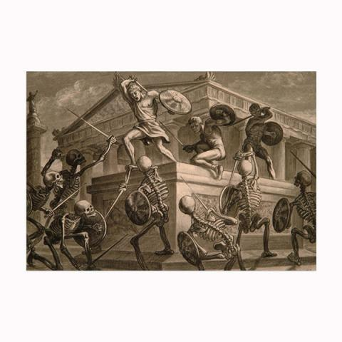 Jason and the Argonauts: Skeleton fight wooden postcard
