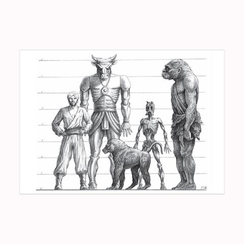 Drawing of Sinbad, Minaton, Baboon, Trog and Ghoul wooden postcard