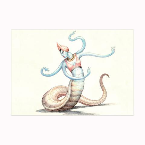 Snake-Woman from 'The 7th Voyage of Sinbad' wooden postcard