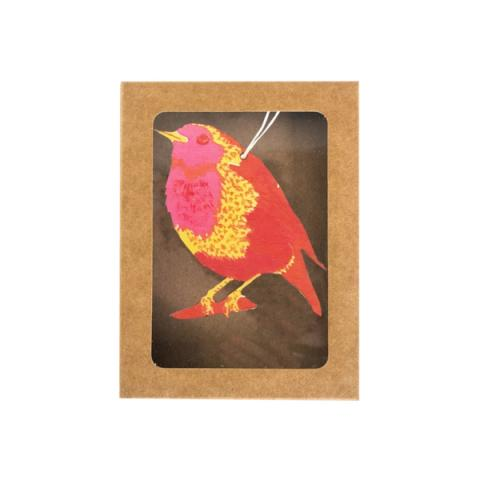 Robin hand printed wooden decoration