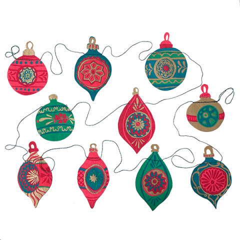 Hand printed bauble decoration paper garland