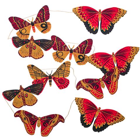 Hand printed butterflies decoration paper garland
