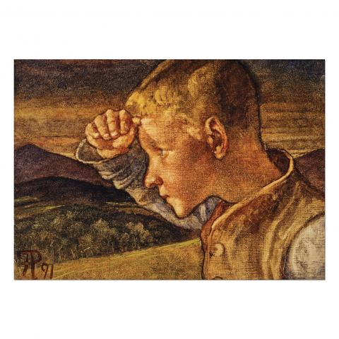 The Shepherd Boy Phoebe Anna Traquair Greeting Card