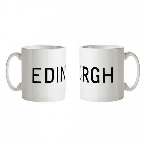 Edinburgh bus blind ceramic mug