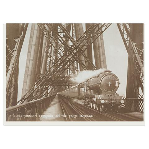 The Aberdonian Express on the Forth Bridge greeting card