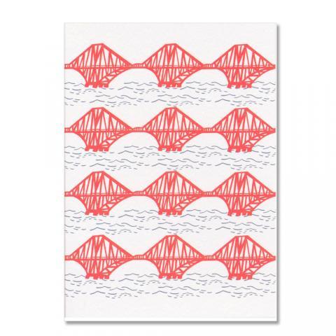 Forth Rail Bridge wavy repeat illustration A6 greeting card