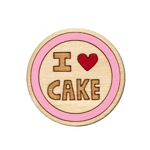 Twiggd I Heart Cake Wooden Badge