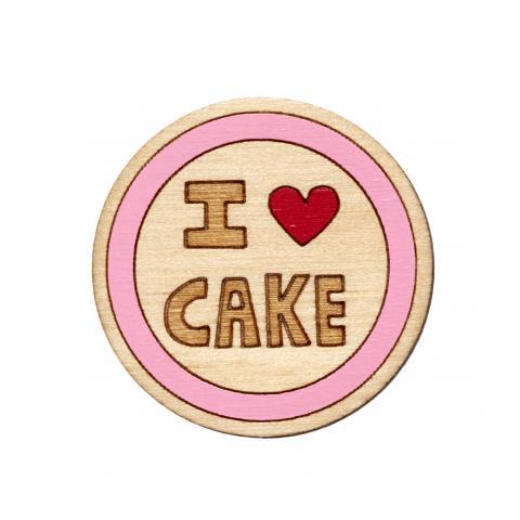 Twiggd I Heart Cake Wooden Badge